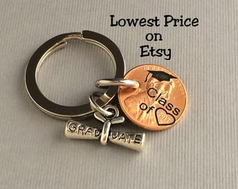2017 Keychain - Graduation Gift - Class of - Gift for Her - Stamped Penny - Son Gift For - Graduate - Gift for Him - Graduation Gift