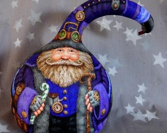 """Steampunk Christmas, Santa Claus, blue purple, hand painted gourd art, 11"""" tall 7"""" diameter"""