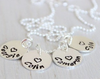 name tag discs with hearts, hand stamped  personalized charms, discs, four names mothers necklace, mommy jewelry, gift for her, gift for mom