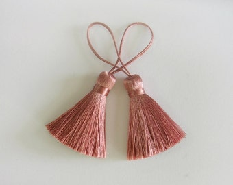Old Rose Tassel Handmade Silk Trim Fringe Jewelry Making Bedding Scarf Sewing Embellishments 2 pieces