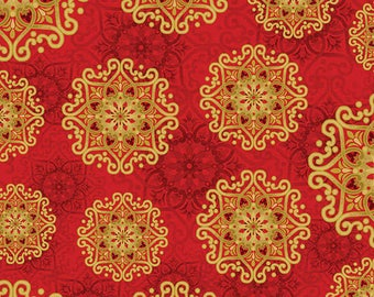 Red Gold Spiral Father Frost Benartex Quilt Fabric by the 1/2 yard