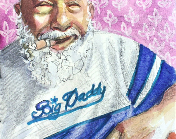 Big Daddy's Stogie, 11x14 inches watercolor on cotton paper, by Kenney Mencher