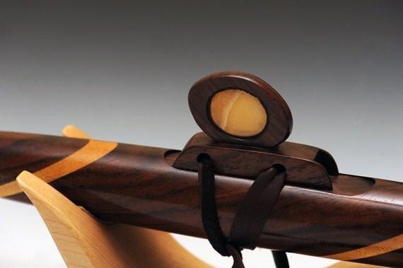 Native American Style Flute Oregon black walnut, Yellowheart, Turquoise, Calcite
