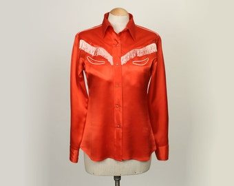 vitage red satin western blouse • FRINGE cowgirl 1960s shirt