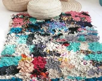 "Vintage Moroccan Rag Rug - BOUCHEROUITE ""colors"""
