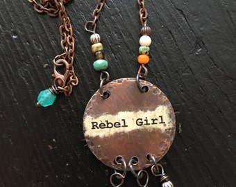 Rebel Girl Boho Inspired Copper Beaded Necklace