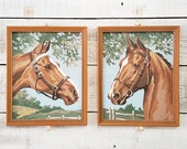 Vintage Pair of Horse Paint by Numbers | Vintage Painting | Paint by Numbers | Horses | Set of 2 | Vintage Home Decor