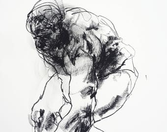 """Expressive and Gestural Male Figure Drawing - 14 x 17"""", gesture """"Drawing 479"""" - charcoal on paper"""