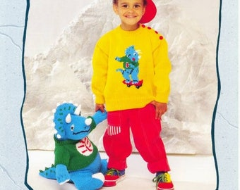 DINOSAUR Toy and Dinosaur Sweater Patons Toy Knitting Pattern Dinosaur Original Knitting Pattern