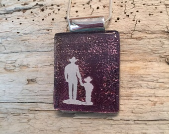 dichroic glass jewelry,cowboy pendant,fused glass, Dichroic Glass Pendant, Fused Glass Jewelry, Fused Dichroic Necklace, glass jewelry,