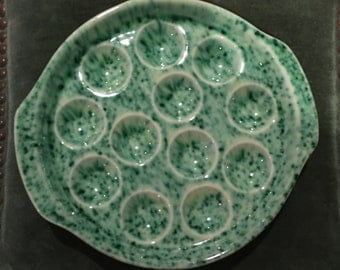 PAIR Vintage French Country Escargot Green and Cream Dish GIEN