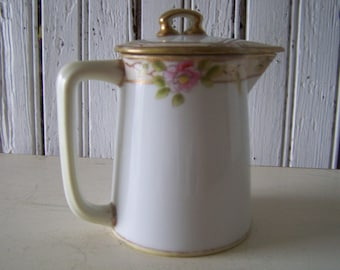 Vintage Nippon China Creamer White w/ Gold Trim Hand Painted Rose pattern Elegant Petite Graceful  Collectable