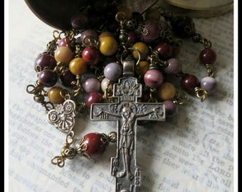 Bronze Catholic Wire Wrapped Rosary in Mookaite Jasper w/ Russian Orthodox Crucifix