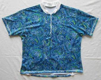 Women's Cycling Jersey Top-Short Sleeve Blue Tuscan Marble Print - Plus size 1X
