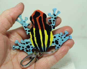 Ranitomeya uakarii poison dart frog key chain Hand painted Leather