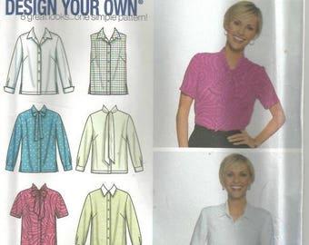 Plus Size Women's Blouse Pattern Six Styles in One Pattern Simplicity 7022 Uncut FF Size 26W - 32W Bust 48 -54