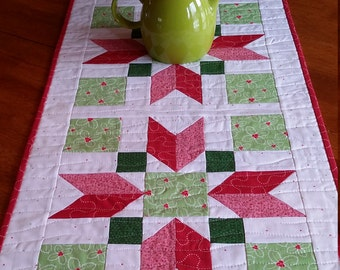 "Quilted Table Runner, Modern Christmas Table Runner, size 16 x 42"",  Red, Pink, Green, White,  Pointsettia Table Runner, Quiltsy Handmade"
