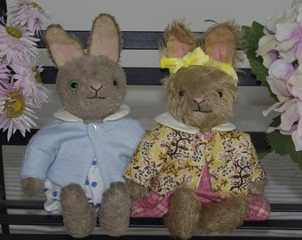 """PDF sewing Pattern for Hampton Bears Baby Hare 8"""" vintage style artist bunny"""