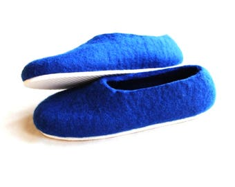 Blue Wool Shoes, Blue Gift for Her, Felted Slippers, Eco Friendly, Soft Soled Shoes, Rubber Soles,  Mom Gift, Cold Feet Nautical Sea Shoes