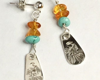 Turquoise and Amber Tbird Dangle Earrings