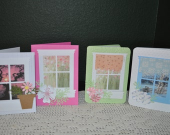 Four Handmade Looking through My Window Spring Note  Cards