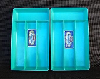 Vintage Glama-Ware Cutlery Trays Set of 2 Aqua Utensil Holder Drawer Organizer Turquoise Flatware Tray GLAMA-WARE by Vermont Plastics, Inc.