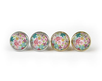 Handcrafted Bright Painted Floral Glass Stud Earrings Stainless Steel Setting Silver Tone And Gold As Seen On Jane.com