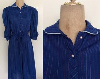 1970's Navy Blue Striped Cotton Poly Shirtwaist Dress Vintage Size Small Medium by Maeberry Vintage