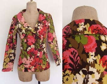 1970's Cotton Floral Print Double Breasted Blazer Vintage Jacket Size Small Medium by Maeberry Vintage