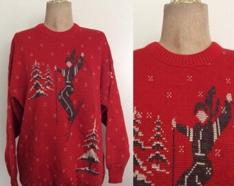 30% OFF 1970's Skier Print Red Knit Vintage Pullover Sweater Novelty Christmas Winter Sweater Size Large XL by Maeberry Vintage