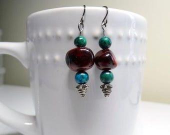 Burgundy Stone Drop Earrings