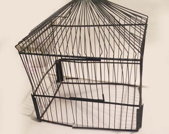 vintage dark metal birdcage - ready to electrify