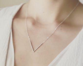 Mothers Day SALE Silver V Necklace/ Minimal V Necklace/ Layered V Necklace/ Simple V Necklace/ Dainty Necklace/ Minimalist Jewelry/ Thin V N