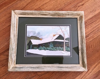 "Original Painting Watercolor Hand Signed by NOEL-Snow Fall Scenery/ Snow fall painting signed by NOEL-Framed painting 16""x13""-Landscape art"