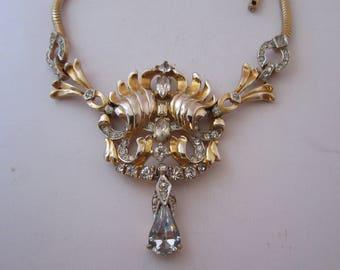 Vintage 1940s Rhinestone Pendant Necklace