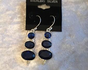 Sapphire Earrings, Dangle Earrings, Blue Earrings, Birthstone Earrings, Long Earrings, Sterling Silver, Natural Sapphire, Sapphire Jewelry