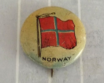 "Shabby Small .9"" Vintage Norway Pinback, Norwegian Flag Button, Norse Collectible, Tin Lithograph Litho, Sheffield Farms Dairy, Sealect A"