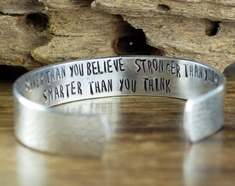 You are braver than you Believe, Stronger than you seem Smarter than you think, Quote Bracelets, Secret Message Cuff Bracelet