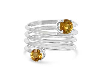 Citrine Spring Ring , Wrap Band Double Gemstone Ring Size 5 - 9.5
