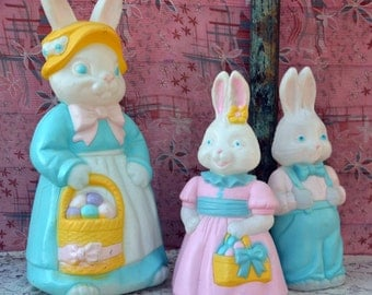 Adorable Easter Bunny Family Blow Mold Collection: Set of3, Mrs. + Boy & Girl Rabbtis -- Light Up Outdoor Holiday Lawn Ornament Decorations