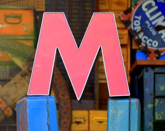 Vintage Marquee Sign Letter Capital 'M' / 'W': Large Pink Wall Hanging Initial, Silver / Gold Border -- Industrial Neon Channel Advertising