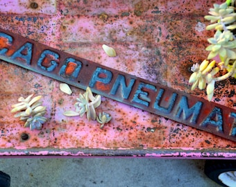 CHICAGO PNEUMATIC Rustic Industrial Advertising Sign: Vintage Teal & Orange Metal Wall Hanging -- Factory, Machine Age, Distressed Patina