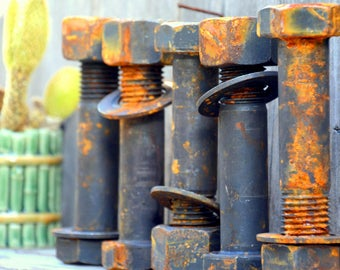 """Giant 6"""" Rusty Industrial Steel Bolts Nuts, 100s avail: Large Hardware Paperweights, Assemblage Sculpture, Steampunk Supplies, Table Legs"""