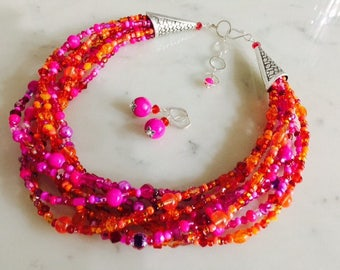 Bright hot pink neon orange necklace earrings set, chunky, multistrand, multi color, Czech glass, colorful, gift idea, multi strand