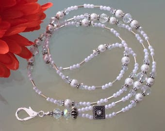 Badge ID, crystal pearl lanyard, cheap gift idea, key holder, secure clasp, accessories, white pearls, silver, Czech crystals,