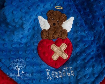 Personalized Minky Baby Blanket, Personalized Baby Gift, CHD Teddy Bear Angel Minky Baby Blanket, Teddy Bear Blanket, CHD Angel Blanket