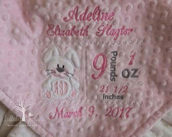 Bunny Monogram Personalized Birth Record Minky Baby Blanket, Subway Personalized Minky Baby Blanket, Personalized Baby Gift