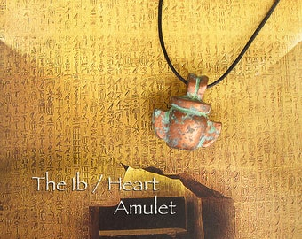 The Ib / Heart Amulet - Ancient Egyptian Symbolic Vessel - Altar Amulet - Handcrafted Polymer Clay Pendant with Aged Copper Patina