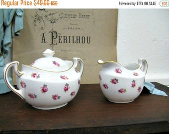 Spring Clearance SaLe Antique Jackson Gosling Floral Creamer Sugar Cottage Chic Pink Roses on White Ye Olde English