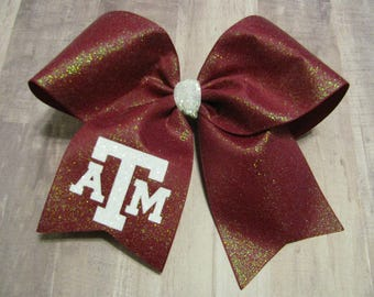 3604 maroon glitter ATM Cheer bow